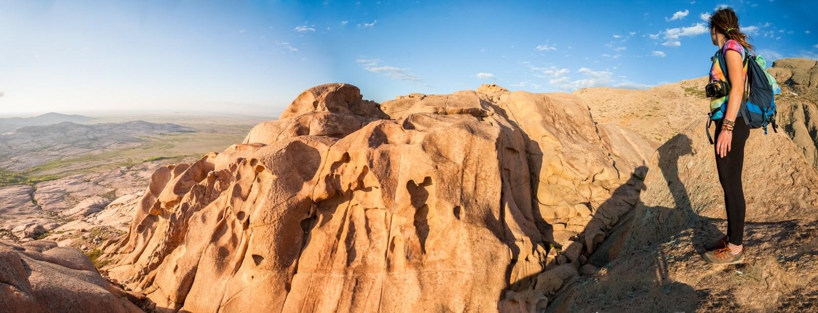 Hiker Looking Over Vista